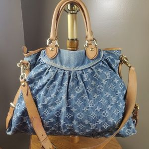 Auth Louis Vuitton Neo Cabby Gm Blue Denim